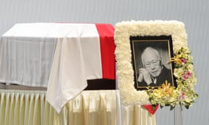 The coffin of former Singaporean prime minister Lee Kuan Yew with a photograph of him on it