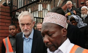 Labour leader, Jeremy Corbyn, with worshippers at the Finsbury Park mosque on Friday