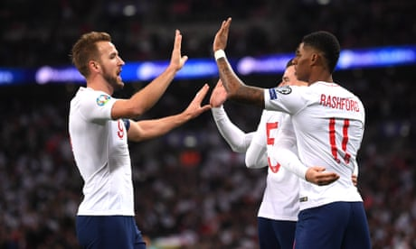 England celebrate 1,000th game with seven-goal charge into Euro 2020 finals