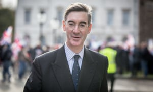 Pro-Brexit protesters with Jacob Rees-Mogg