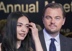 Chinese actress Yao Chen, left, and US Actor Leonardo DiCaprio pose for media after the Crystal Awards ceremony at the World Economic Forum in Davos, Switzerland, Tuesday Jan. 19, 2016. The world's political and business elite are being urged to do more than pay lip service to growing inequalities around the world as they head off for this week's World Economic Forum in the Swiss ski resort of Davos this week. (AP Photo/Michel Euler)