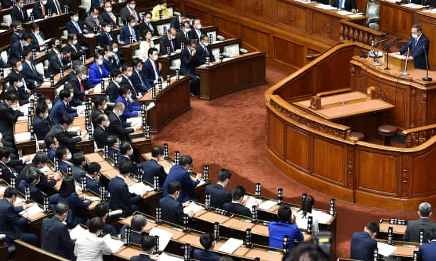 Japan's prime minister Yoshihide Suga gives his first policy speech during an extraordinary session at the lower house of parliament in Tokyo on 26 October 2020