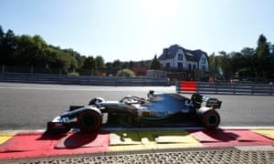 Lewis Hamilton on track during practice for the Belgian Grand Prix at Spa-Francorchamps.