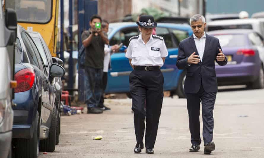 Met commissioner Cressida Dick and London mayor Sadiq Khan arrive at the launch of their new knife crime strategy in Brixton, south London.