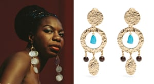 Nina Simone-inspired Oscar de la Renta hammered disc-drop clip-on earrings, £224, matchesfashion.com.
