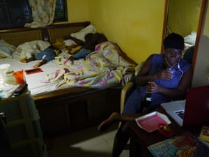Late at night in a small home in Accra, Ghana.