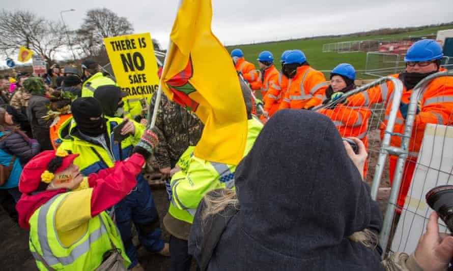 Demonstrators last week at Preston New Road.