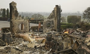 The remains of the Signorello Estate winery smolder after the October wildfires in Napa, California.