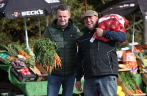 O'Connor and Aston at their fruit and veg stall