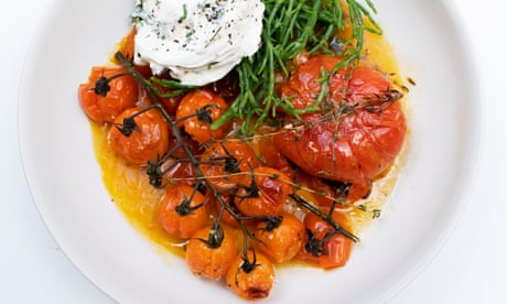 Nigel Slater's roast tomatoes, whipped cheese and samphire recipe