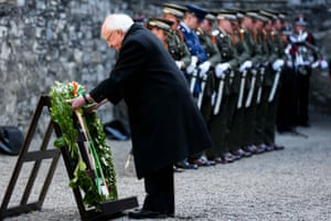 President Michael Higgins lays a wreath on the site where the 1916 leaders were executed in Kilmainham gaol