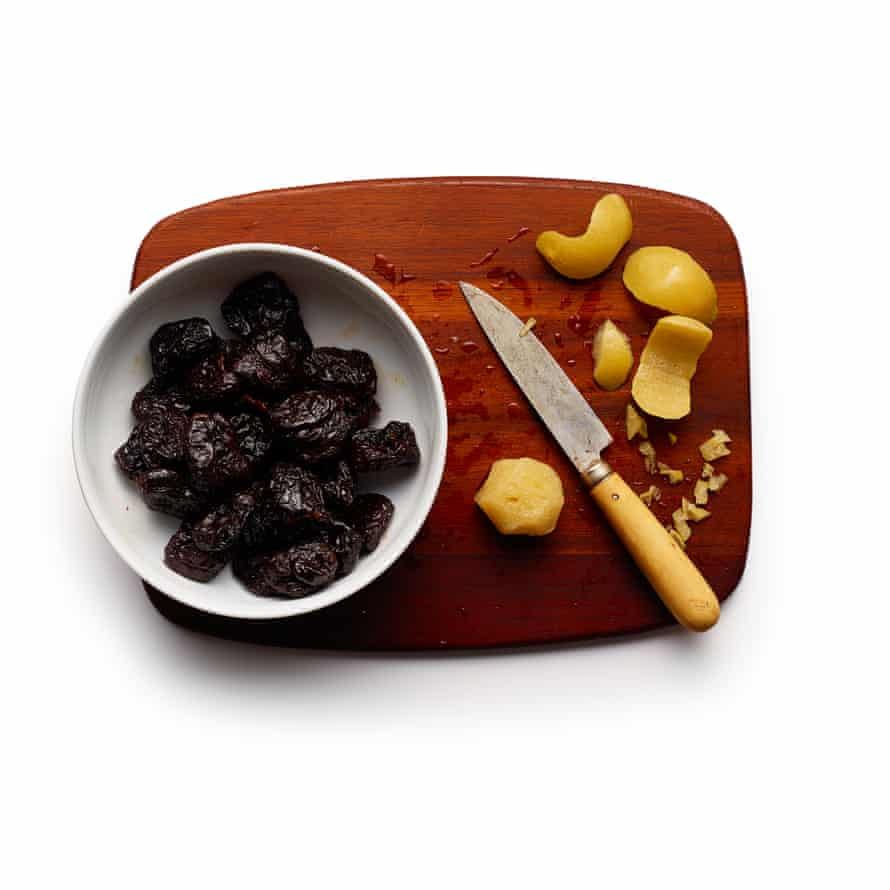 Prunes and preserved lemon skin.