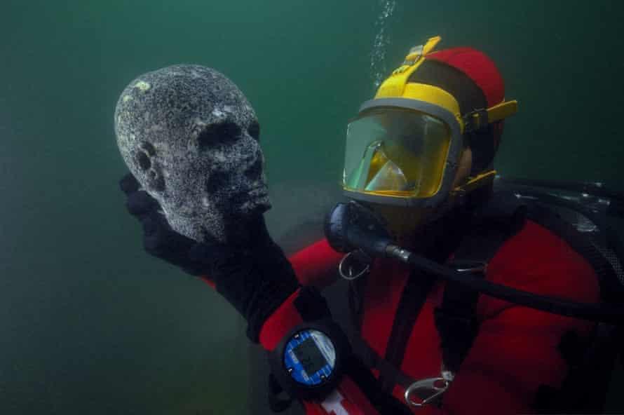Granite head of a priest, Ptolemaic period.