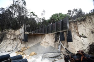 A disabled ramp at Byron Bay damaged by erosion.