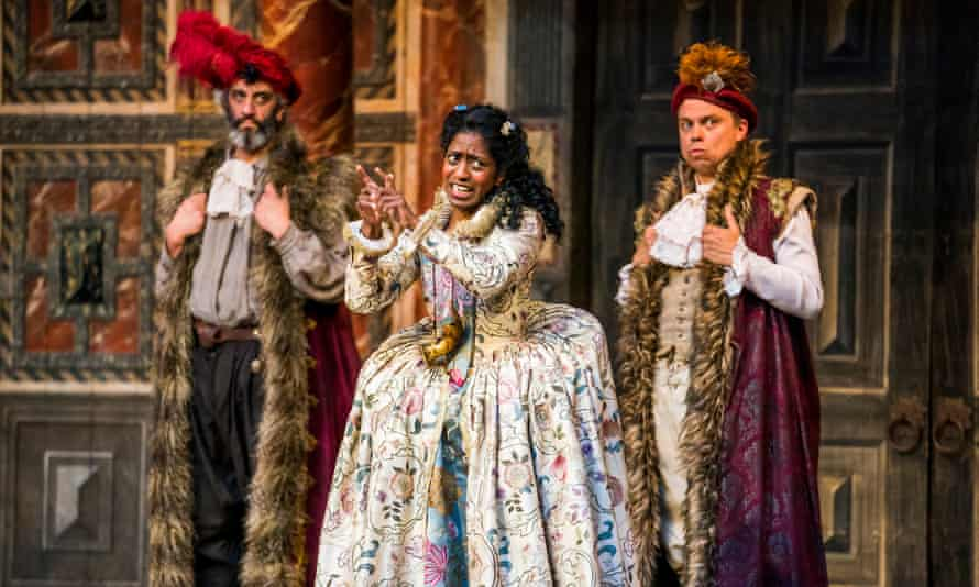 A different language … Nadia Nadarajah, centre, signs her part as Celia in As You Like It.