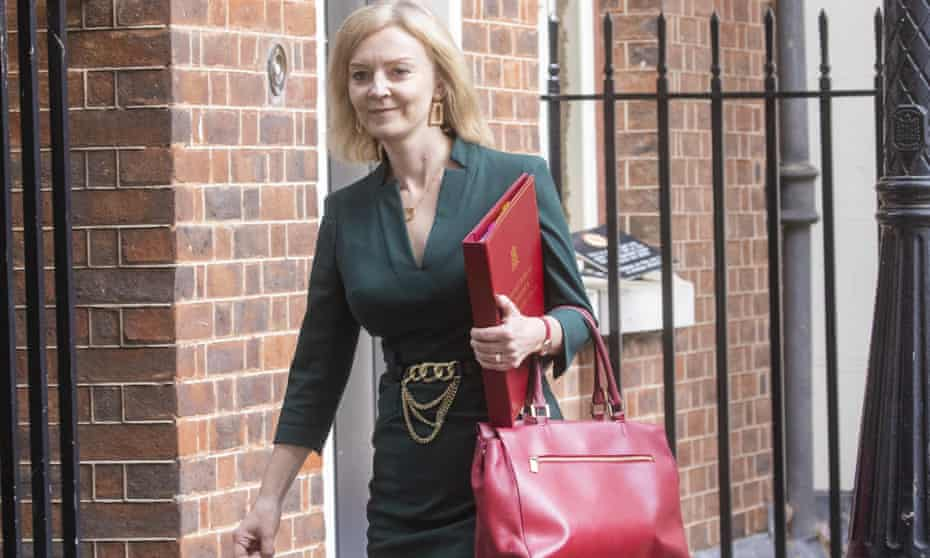 Newly appointed foreign secretary Liz Truss in Downing Street on Friday for the first cabinet meeting of Boris Johnson's reshuffled team.