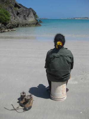 A ranger takes a break from the clean up on Wanuwuy beach
