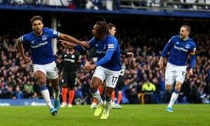 Dominic Calvert-Lewin celebrates his first goal of the match.