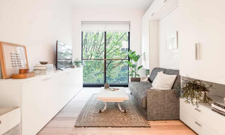 A typical Ollie apartment at Carmel Place, New York City. The couch converts to a bed.