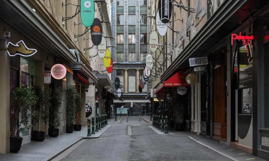 An empty Degraves Street in Melbourne's CBD. 'The crowd-loving virus has systematically turned all the joys of the Melbourne CBD life – intimate venues, happy crowds, easy socialising, the use of public transport, shared public spaces – into bad things, making them liabilities rather than assets.'
