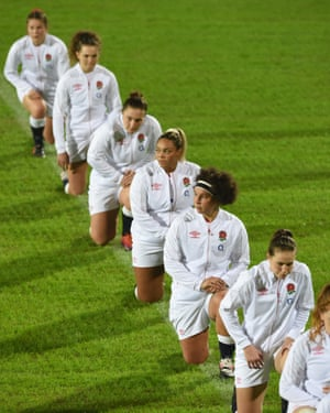 Brown takes a knee in support of Rugby against Racism during the Women's Six Nations match between Italy and England on November 01, 2020 in Parma, Italy. Football Stadiums around Europe remain empty due to the Coronavirus Pandemic as Government social distancing laws prohibit fans inside venues resulting in fixtures being played behind closed doors (Photo by Chris Ricco - RFU/The RFU Collection via Getty Images)
