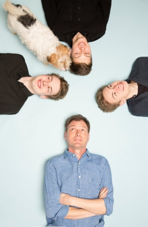 Tim Dowling with his three sons and dog