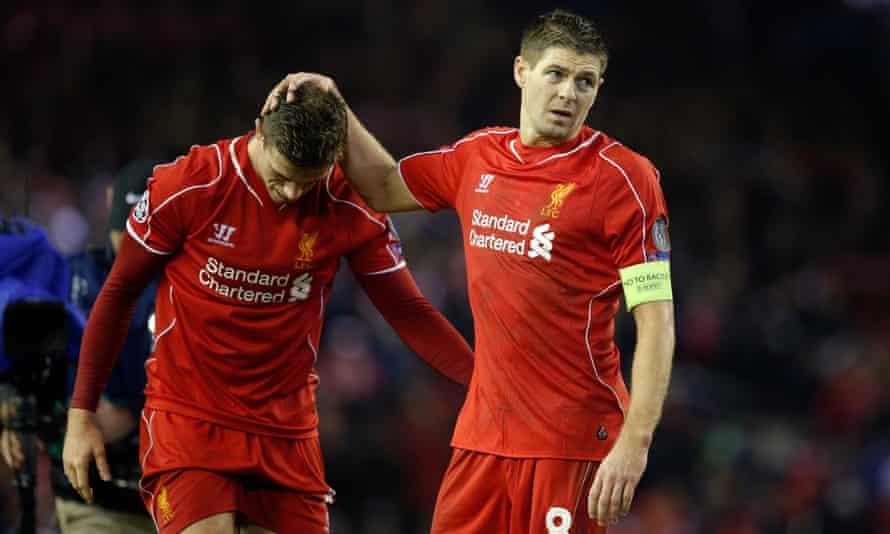 Steven Gerrard consoles Jordan Henderson after Liverpool's Champions League exit in 2014. Gerrard backed his fellow midfielder in tough times.