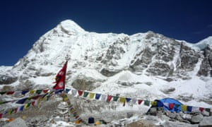 Mount Everest from base camp in Nepal.