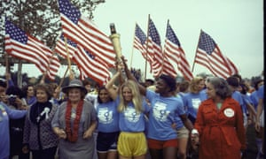 A women's rights march in 1977 in Houston. From left, Susan B Anthony II, Bella Abzug, Peggy Kokernot, wearing yellow shorts, and Betty Friedan wearing red coat.