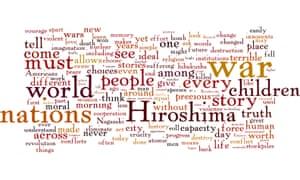 Wordle of Obama's speech in Hiroshima