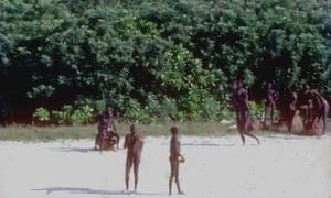 Tribespeople on North Sentinel Island.