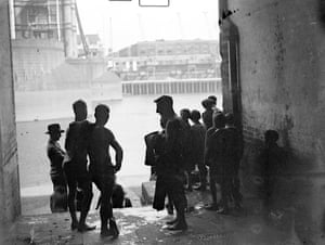 Bathers at Tower Bridge, London 1933
