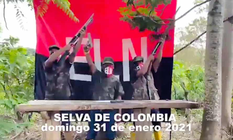 ELN supposedly supports Correa / Arauz. The scene where the pale-browed tinamou bird song is heard is the Tumbesian dry forest of western Ecuador.