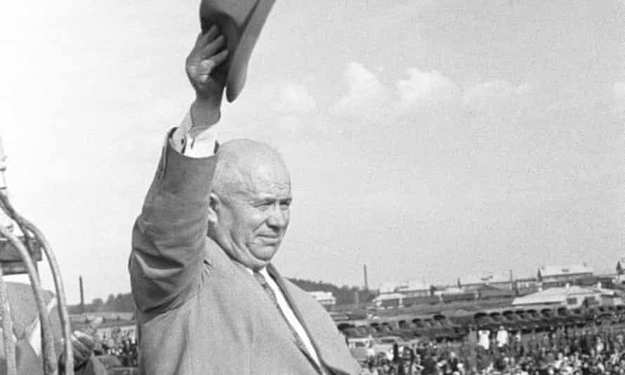 Nikita Khrushchev addresses a rally in Sverdlovsk, 1956.