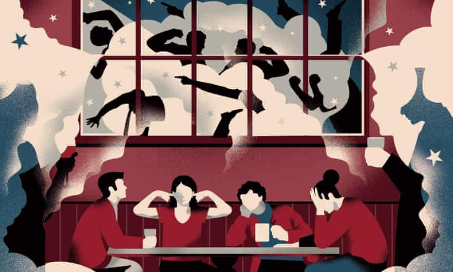 Illustration by Nathalie Lees of people in a pub trying to shut out Brexit talk.