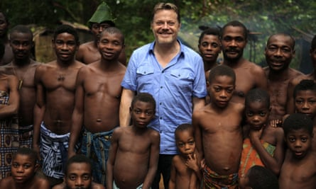 Meeting the Bakola Pygmies in Cameroon for a BBC series to trace his genetic make-up.