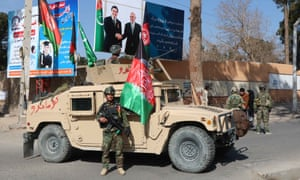 A roadside checkpoint in Herat, Afghanistan
