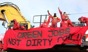 Protesters close Ffos-y-Fran opencast coal mine in Merthyr Tydfill, south Wales, earlier this month.