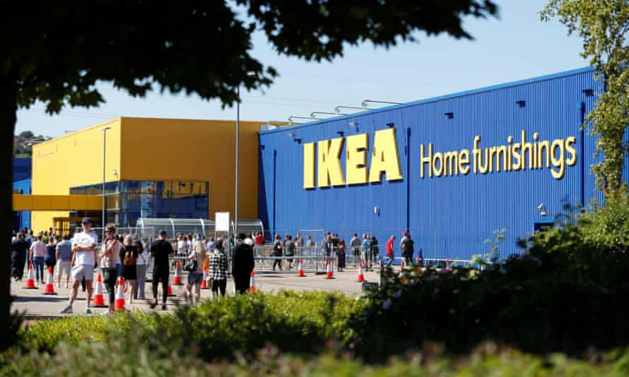 People queuing at Ikea in Gateshead as it re-opened on Monday. Gateshead has the second-highest rate of infections in the UK.