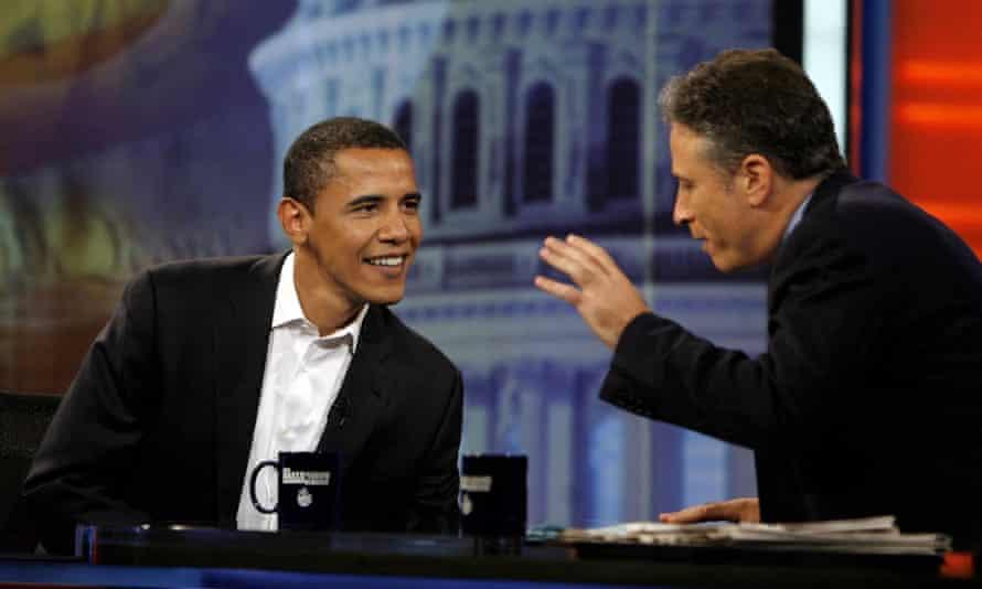 Barack Obama and Jon Stewart in 2007<br>