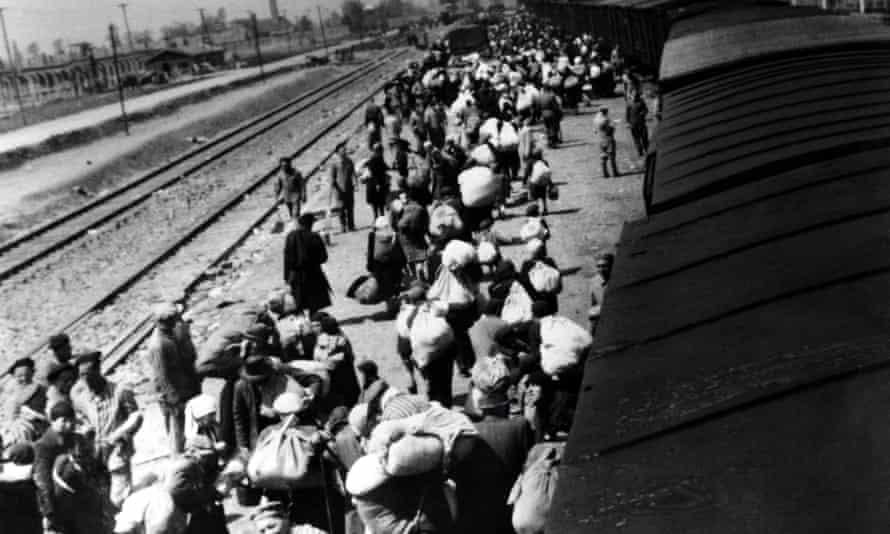 Jews arrive at Auschwitz-Birkenau during the war.
