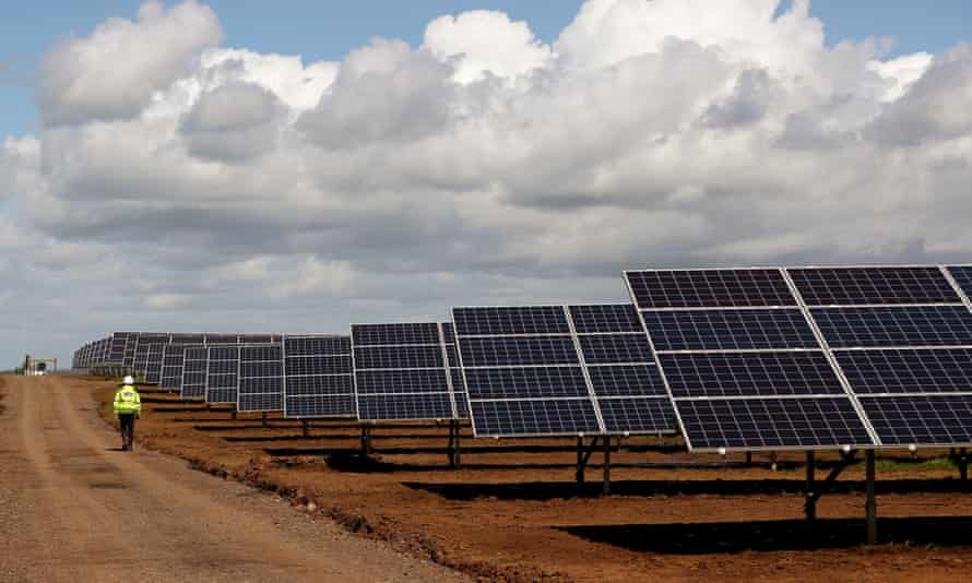 Solar panels are seen at Dunore in Northern Ireland