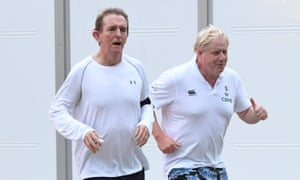 Boris Johnson (right) goes for a jog with Sun editor, Tony Gallagher.