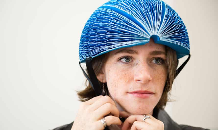 Inventor Isis Shiffer wearing her EcoHelmet
