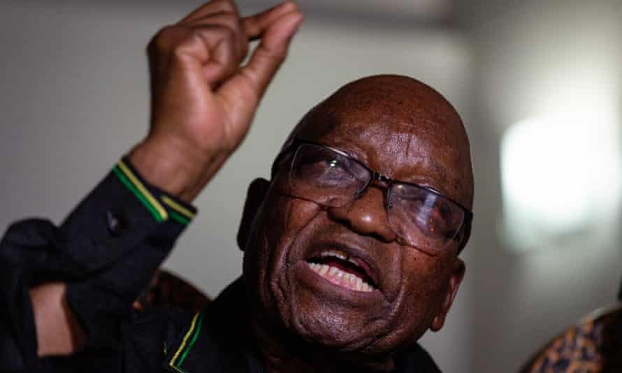Former South African President Jacob Zuma speaks during a press conference in Nkandla