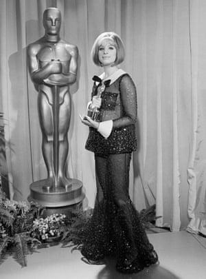 Barbra Streisand with her Oscar for Funny Girl in 1969