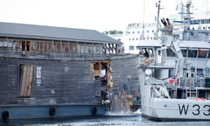 A view of the damage to replica of Noah's ark after the run in with a coastguard ship.