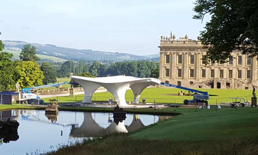 Zaha Hadid's Lilas pavilion is installed at Chatsworth House in Derbyshire for Sotheby's Beyond Limits sculpture show.