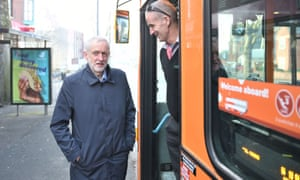 Jeremy Corbyn talking to a bus driver in Nottingham before a visit to Ilkeston, Derbyshire.