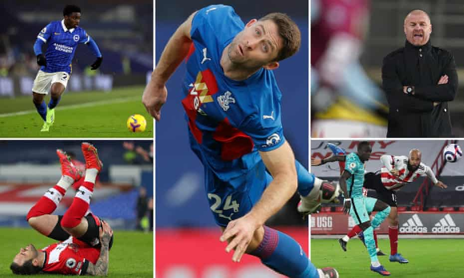 Clockwise from top left: Brighton are missing Tariq Lamptey badly; Gary Cahill keeps on keeping on for Palace; Sean Dyche welcomes Arsenal; David McGoldrick found the net in midweek and now his Blades face Southampton and Danny Ings.
